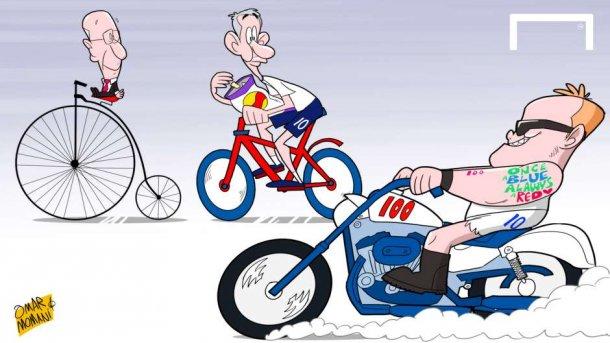 Руни с большой скоростью приближается Линнекеру и Чарльтону (карикатура)